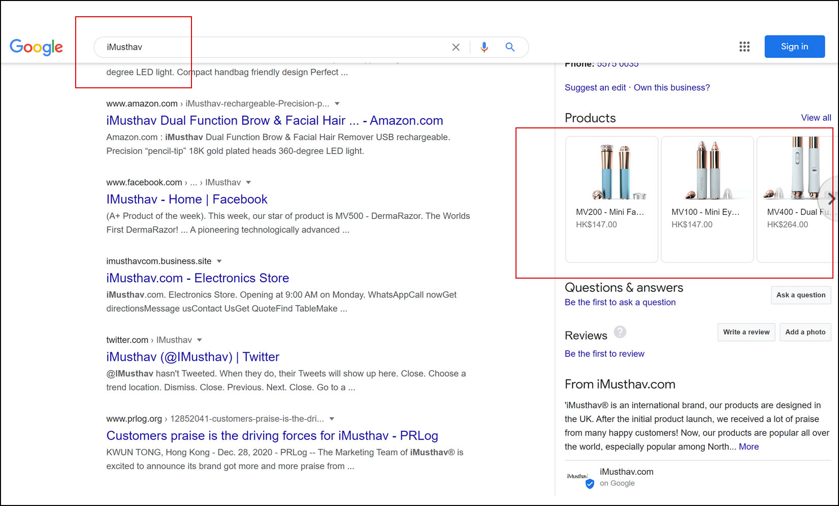 Customers can easily to search iMusthav® products on Google now